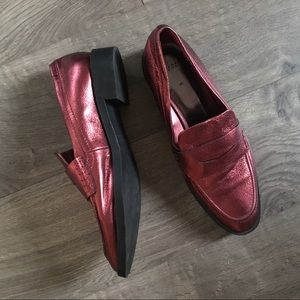 ZARA Metallic Red Leather Loafer size 7